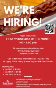 Sugar Creek Monthly Hiring Event @ OhioMeansJobs - Circleville, Ohio