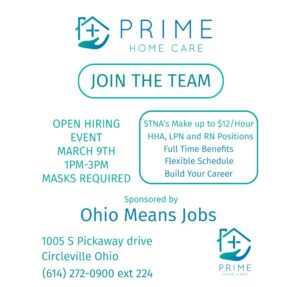 Prime Home Care Hiring Event @ OhioMeansJobs - Circleville, Ohio