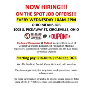 On-Board Hiring Event @ OhioMeansJobs - Circleville, Ohio